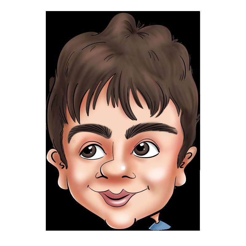 Caricature d'un petit garçon avec ses grands yeux