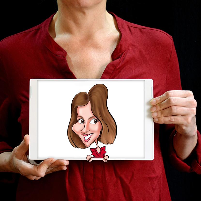 La caricature digitale est réalisée pendant un événement. Sur la caricature une jeune femme avec une chemise rouge. La personne tient la tablette graphique dans ses bras devant son corps. La présence d'un caricaturiste peut être une idée originale pour un événement (mariage, anniversaire, team-building, ...)