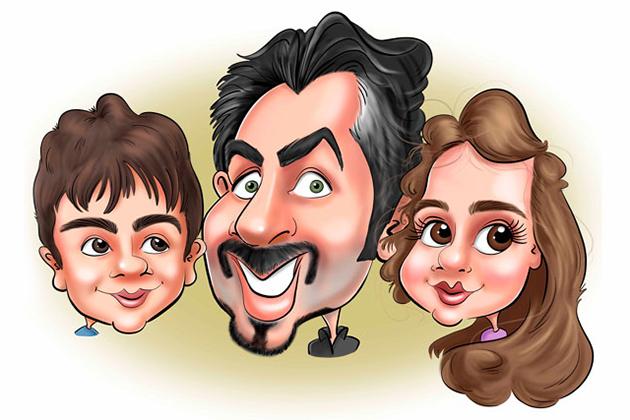 Caricature d'une famille. Sur la caricature on peut voir le père dans le centre entouré avec ses deux enfants