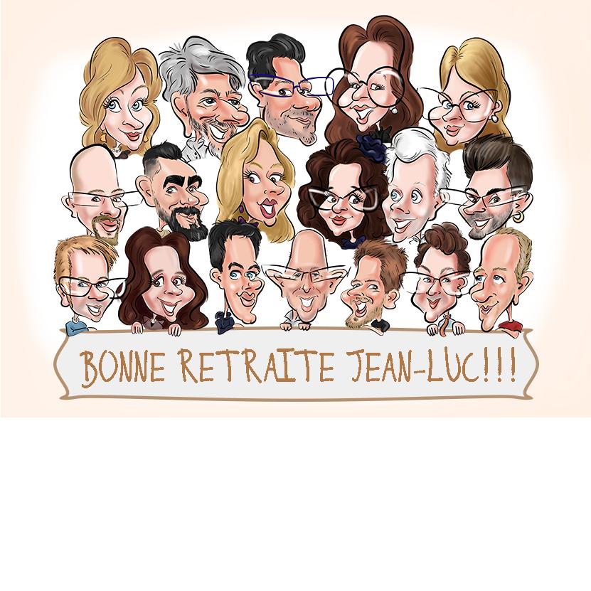 Cadeau original et artistique pour un collèque qui part à la retraite. La caricature de touts ses collègues.