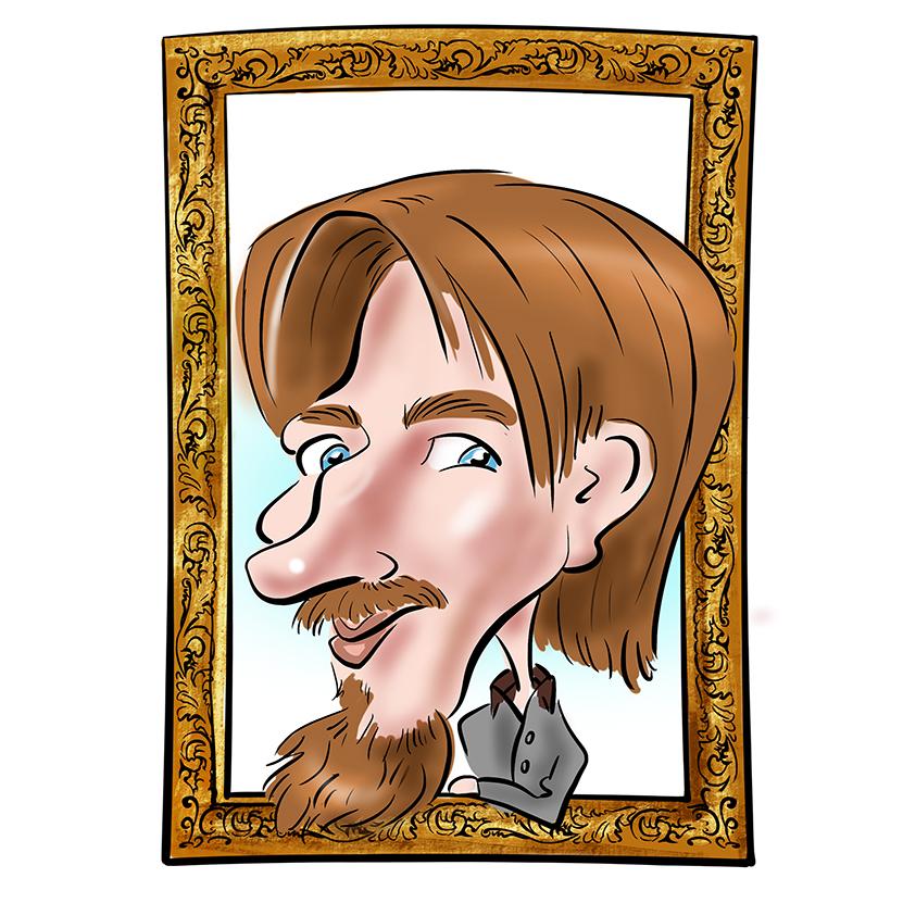Caricature en noir et blanc réalisée pour un mug. Sur la caricature un jeune homme avec une barbe et des lunettes. Le Coin de la Caricature, l'animation originale pour votre mariage