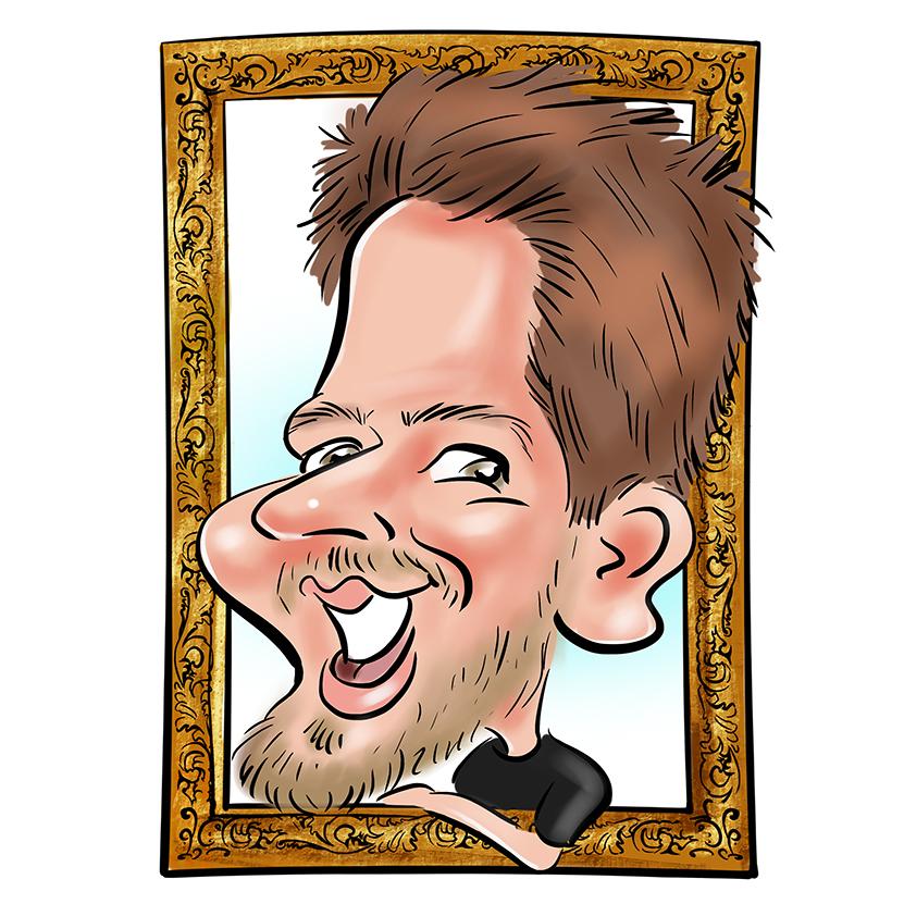 Caricature en couleur réalisée pour un mug. Sur la caricature un homme avec des grandes lunettes et un grand sourire. Le Coin de la Caricature, l'animation originale pour votre mariage