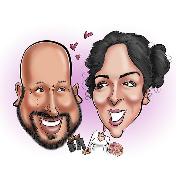 Caricature réalisée pour un original save the date mariage. La caricature d'un couple avec la mention just married sur une voiture décapotable