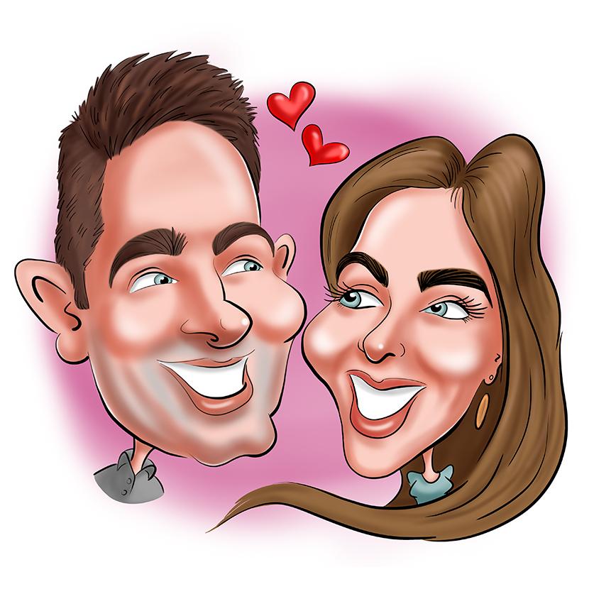 Caricature digitale réalisée pour save the date. La caricature digitale d'un couple amoureux dans une voiture décapotable avec la mention just married