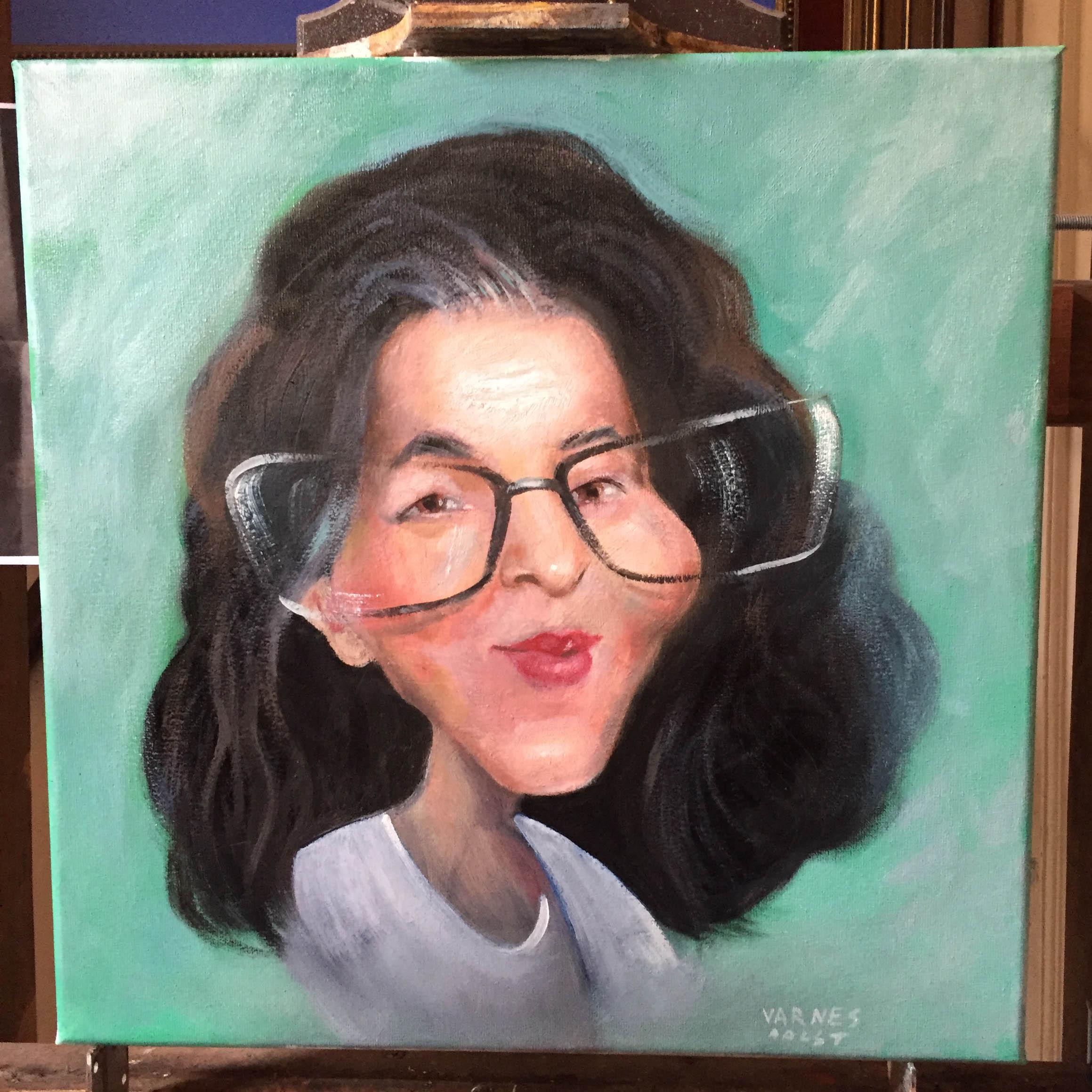 Caricature sur toile, peinture à l'huile