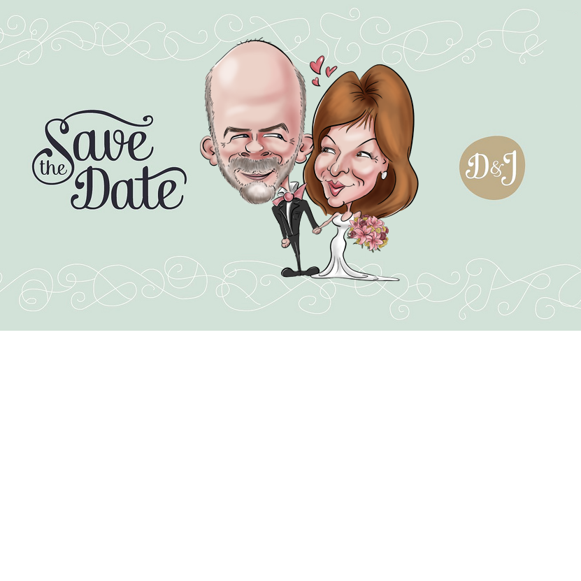 Save the date original et artistique (caricature) pour le mariage